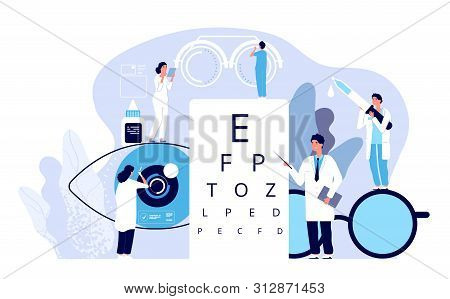Ophthalmology Concept. Ophthalmologist Checks Patient Sight. Optical Eyes Test, Spectacles Technolog