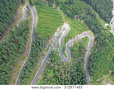 The Image Of A Beautiful Mountain Road. Many Conifers Along The Road. Photo Taken In A Summer Day, F
