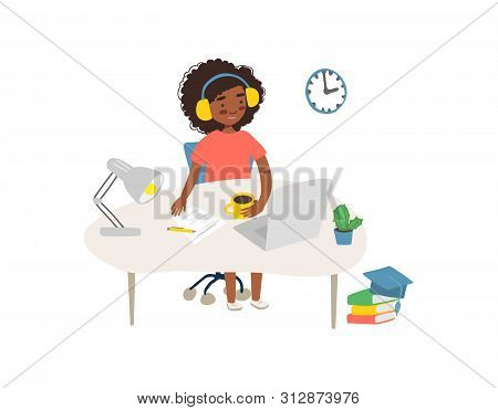 Student In Learning Process. Flat Illustration Of African Woman Studying Online At His Workplace, Us