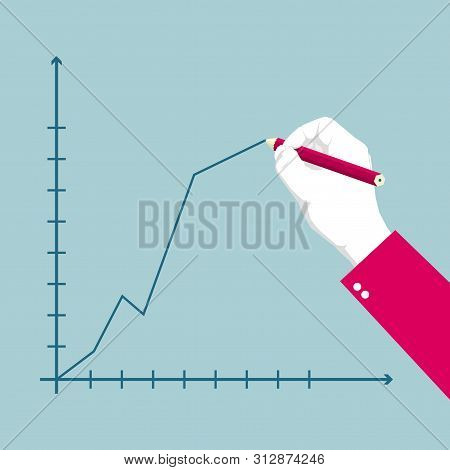 Draw A Chart Using A Pencil. Isolated On Blue Background.