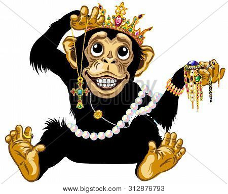 Cartoon Chimp Monkey Or Chimpanzee Great Ape Wearing A Gold Crown, Playing With Gemstone Jewelry And