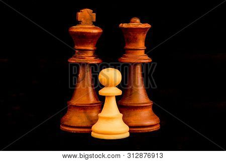 Black King and Queen with white pawn family as interracial adoption concept. Standard chess wooden pieces on black background poster