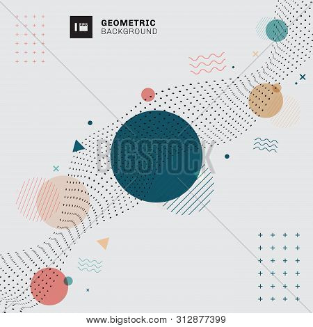 Abstract Memphis Geometric Circles, Triangles, Wavy Lines With Black Dots Wavy Pattern On Gray Backg