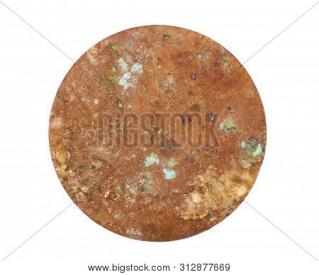 Copper Washers On Isolated Background, Gaskets On An Isolated Background, Flat Copper Washers On Iso