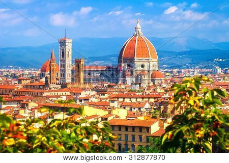 Florence Landmark. Santa Maria Del Fiore Cathedral In Florence, Italy. View On The Dome From Michela