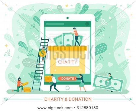 Charity And Donation Web Poster, People Donate Money. Vector Male Climbing On Ladder, Teamwork And G