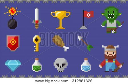 Pixel Game Elements Vector, Chicken Meat Nutrition And Zombie, Skull And Trophy, Diamond And Elixir,
