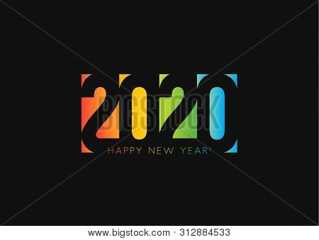 Happy New Year 2020. Negative Space Style Design, Cut Out Numbers From Colored Paper. Twenty Twenty