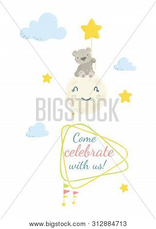Cute Flat Hand Drawn Vector Invitation. Baby Shower Invitation Card. Baby Bear With Frame. Place For