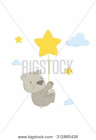 Cute Bear Is Flying In A Star Balloon Cartoon Flat Vector Illustration For Kids. Perfect For T-shirt