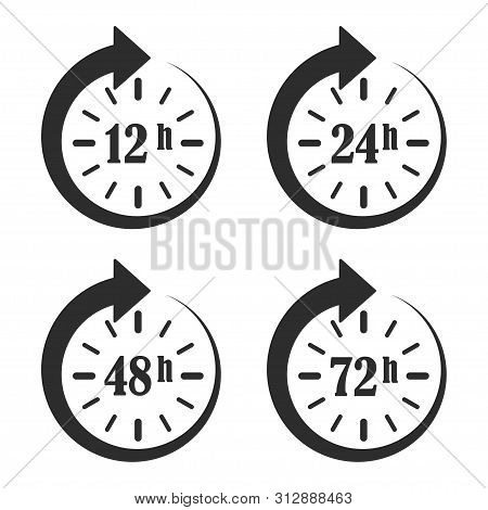 12, 24, 48 And 72 Hours Clock Arrow. Work Time. Online Deal. Delivery Service Time Icons