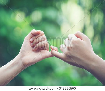 Hands Hook Each Other's Little Finger On Nature Background