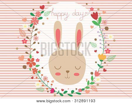 Sweet And Cute Rabbit And Floral Wreath On Strip White And Pink With Copy Space. Pastel Wallpaper Fl