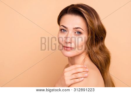 Close Up Side Profile Photo Beautiful Amazing Cute Charming She Her Lady Hold Hand Arm Touch Shoulde