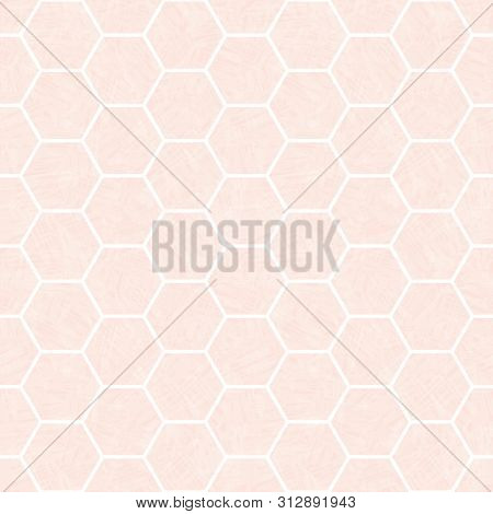 Pastel Pink And White Hexagonal Honeycomb Design. Seamless Vector Pattern With Transparent Watercolo