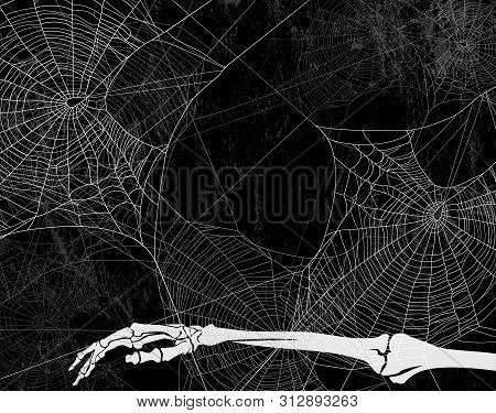 Spooky Halloween Backdrop With Spider Web, Dead Man Skeleton Hand And Shabby Black Wall - Vector Cop
