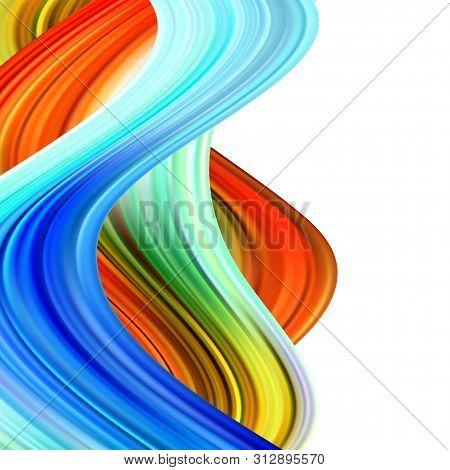 Colorful Flow Poster. Wave Liquid Shape Color Background. Art Design For Your Design Project. Vector