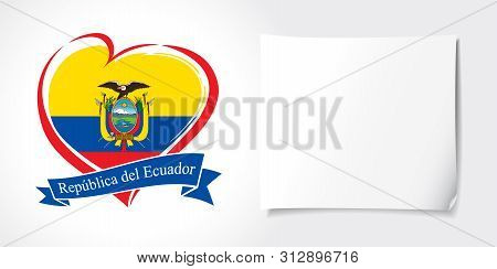 Ecuador Independence Day Greeting Card. Vector Logo With Heart For Ecuador Country, Fridge Magnet Wi