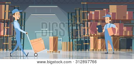 Warehouse Interior. Big Room With Boxes On Pallet Shelves People Loaders Working Vector Inside Of Wa