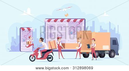 Online Delivery. Fast Digital Shopping And Urban Courier Transport Service Shipping Gifts Vector Del