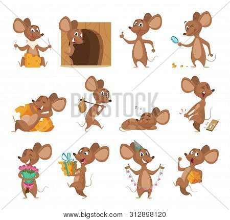 Cartoon Mouse. Funny Little Animals Vector Lab Mice With Cheese Collection Pictures. Mouse Animal, L
