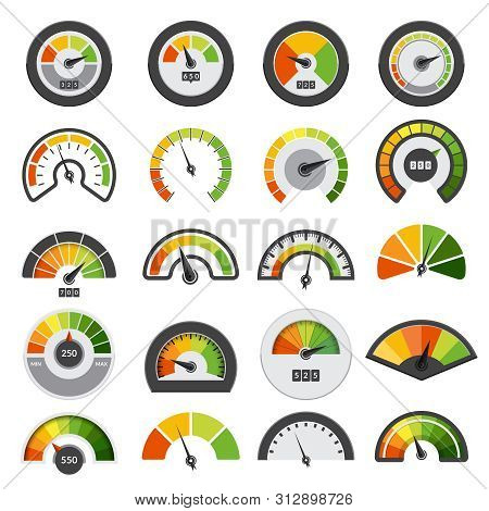 Speedometers Collection. Symbols Of Speed Score Measuring Tachometer Level Indices Vector Collection