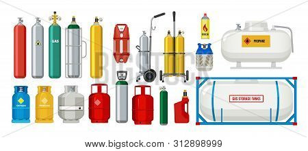 Gas Tanks. Compressed Oxygen Propane Dangerous Cylinder Tanks Vector Cartoon Collection. Propane In