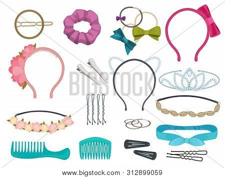 Hair Accessories. Woman Hair Items Stylist Salon Flowers Elastic Bands Bows Hoops Vector Cartoon Ill