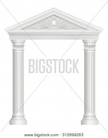 Antique Arch. Colonnade Palace Entrance Architectural Baroque Style Vector Realistic Pictures. Archw