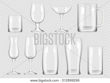 Transparent Drink Glass. Cup For Alcoholic Drinks Crystal Empty Glass Vector Realistic Collection. E