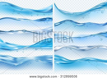 Wave Realistic Splashes. Liquid Water Surface With Bubbles And Splashes Ocean Or Sea Vector Backgrou