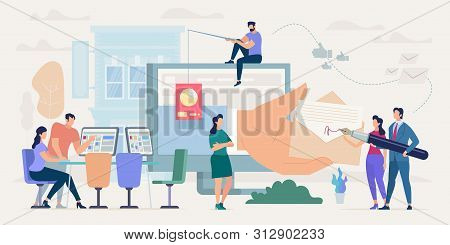 Bright Poster Conduct Negotiations Cartoon Flat. Banner Conceptual Idea Promoting And Supporting Pro