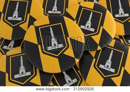 Us City Buttons: Pile Of Baltimore, Maryland Flag Badges, 3d Illustration