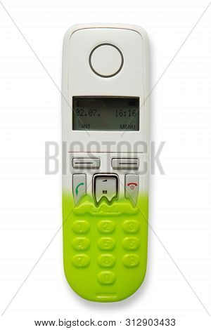 Image Of Dect Phone Turning Into A Toy Phones Isolated On White Background. The Concept Of Technolog