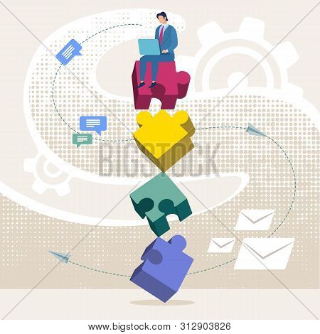 Advertising Flyer Unsuitable Puzzle Items Flat. Conceptual Idea Man Builds Life From Different Compo