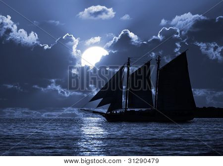 A Boat On The Moonlit Seas