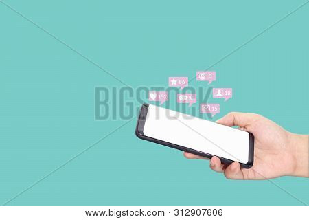 People Using Mobile Smartphone With Blank White Screen For Social Media Interactions With Notificati