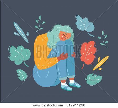Cartoon Vector Illustration Of Unhappy Teenage Girl, Young Woman Sitting In Depression. Depressed, U