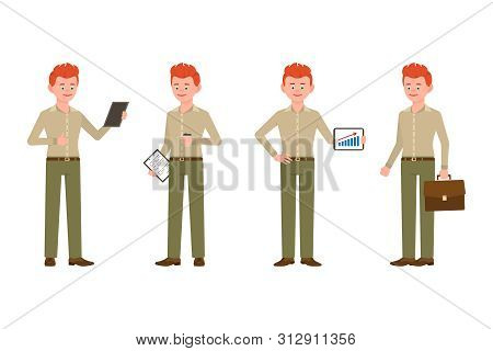 Elegant, Confident Red Hair Young Man In Green Pants Vector Illustration. Reading, Standing With Not