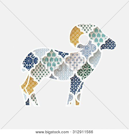 Greeting Card, Invitation With Silhouette Of Ornamental Sheep. Colorful Moroccan, Arab Pattern Tiles