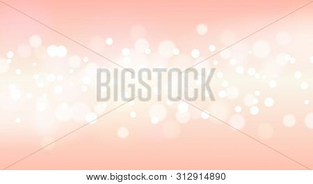 Beauty Pink Glitter Vector Illustration. Dreamy Sparkling Blurred Shinny Background, Circle Glitters