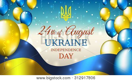August 24, Independence Day Of Ukraine, Vector Template With Ukrainian Flag And Colored Balloons On