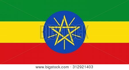 Flag Of Ethiopia.  Ethiopia Vector Flag. National Symbol Of Ethiopia