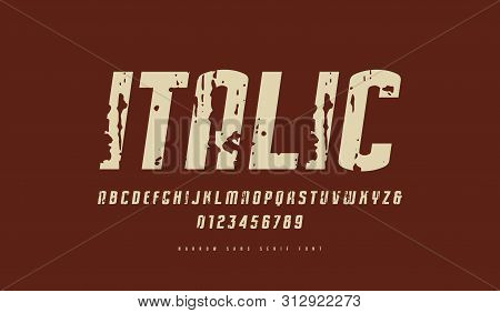 Stock Vector Italic Narrow Sans Serif Font. Letters And Numbers With Vintage Texture For Logo And La