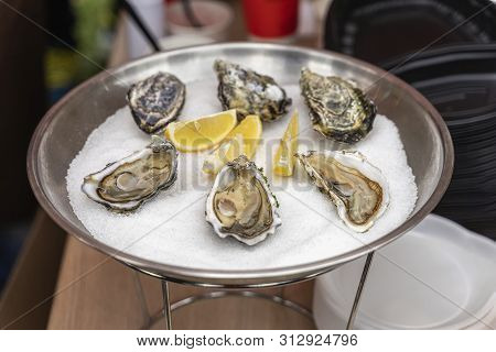 Fresh Oysters And Lemon On Ice In Plate Close-up. Gastronomic Gourmet Dainty Products On Market Coun