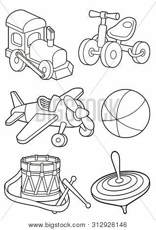 Wooden Toys Icon Set In Vintage Color Palette. Train, Bicycle, Spinning Top, Drum, Airplain And Beac