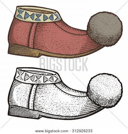 Traditional Greek Tsarouchi, Woodcut Illustration Of Folk Leather Moccasin Like, Male Shoe With Pomp