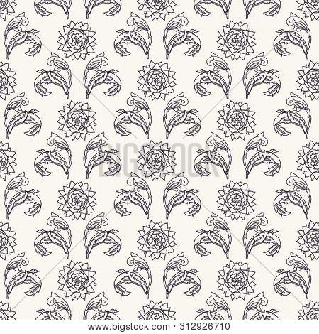 Art Nouveau flower motif Jugendstil style. Vector seamless pattern. Passionflower damask textiles swatch. Decorative arts crafts ornamental home decor. Modernist monochrome floral all over print. poster