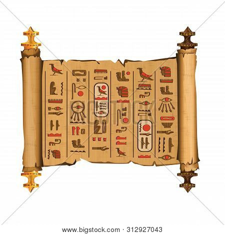 Ancient Egypt Papyrus Scroll With Wooden Rods Cartoon Vector. Ancient Paper With Hieroglyphs And Egy