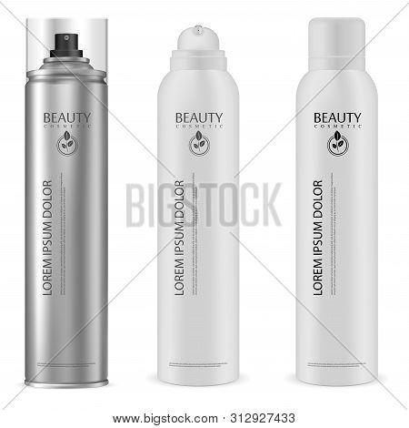 Aerosol Can. Aluminium Spray Bottle Mock Up. Cosmetic Hairspray Container. Aluminum Cylinder Tin Wit